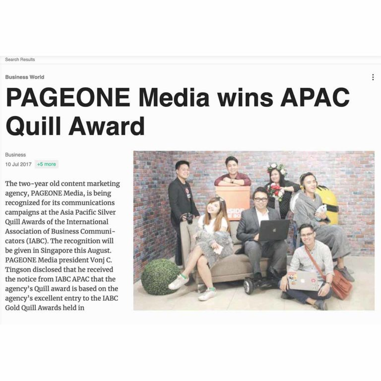 PAGEONE Media Wins APAC Quill Award