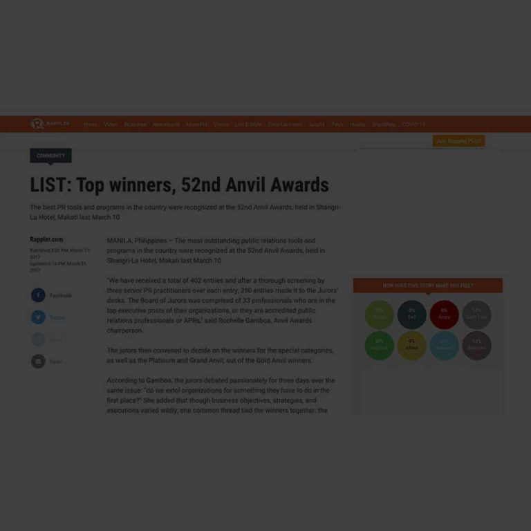LIST: Top Winners, 52nd Anvil Awards