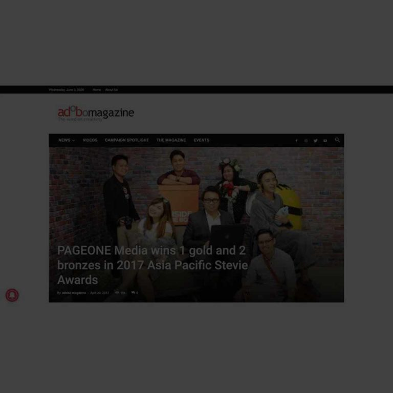 PAGEONE Media Wins 1 Gold And 2 Bronzes In 2017 Asia Pacific Stevie Awards